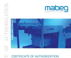 mabeg sheet stacker authorization